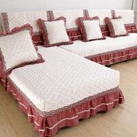 欧式布艺裙边沙发坐垫简约现代四季通用防滑加厚皮沙发套盖包
