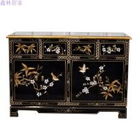 新古典现代中式手绘柜子茶水柜鞋柜边柜玄关柜客厅储物柜餐边柜 4门