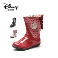 【达芙妮集团】迪士尼 特价清仓儿童雪地靴皮靴子女童靴冬中童短靴宝宝