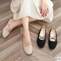 秋季单鞋女百搭潮款韩版绒面浅口平底鞋圆头交叉绑带芭蕾舞鞋