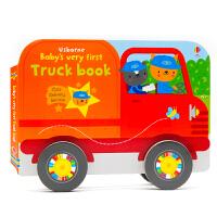 英文原版绘本 Usborne Baby's very first Truck book 小卡车造型书 纸板书 宝宝的卡