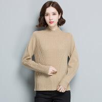 厂家直销套头修身短款休闲羊毛衫 半高领纯色针织毛衣打底衫