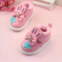 畅印 一件儿童棉鞋女童加绒加厚冬宝宝婴儿鞋软底学步鞋保暖短靴jyl 粉色(加绒) 15码(内长11)