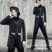 18四季新款男款韩版修身撞色中长款马甲潮流青年小伙西装领背心