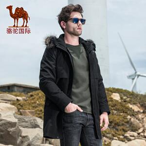 骆驼男装 冬季新品商务中长款可卸内胆连帽毛领保暖棉衣棉服