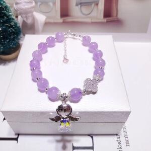 天然约8毫米薰衣草紫水晶单圈手链925银