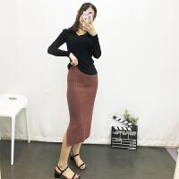 半身裙秋冬女2017新款韩版中长款高腰包臀一步裙针织开叉港味长裙