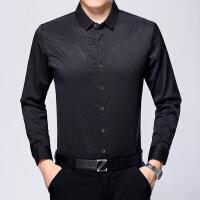 春季中年男士衬衫长袖宽松商务休闲印花免烫衬衣爸爸装