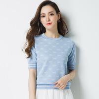 桑蚕丝t恤女短袖冰丝针织衫夏装2018新款韩版时尚短款打底衫上衣