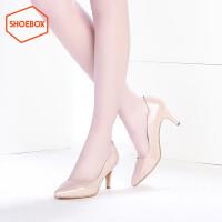 达芙妮旗下SHOEBOX鞋柜/苹绮 尖头高跟鞋女 舒适酒杯跟浅口单鞋女鞋