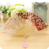 日式礼物樱花风舞蹈竹木古风小折扇女士可爱古典折叠扇子