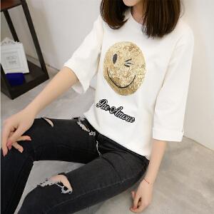 短袖T恤女笑脸速干冰丝针织打底衫宽松韩版春装2018新款休闲外套