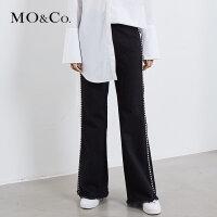 MOCO春季新品钉珠装饰喇叭流苏牛仔裤MA181PAT405 摩安珂