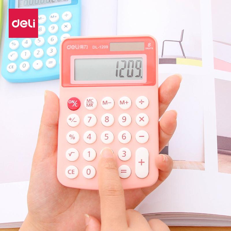 得力可爱小号计算器迷你便携糖果色小型韩国计算机太阳能会计专用女生韩版随身小学生用个性创意时尚粉色卡通 无语音 8位计算器 糖果色彩