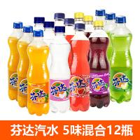 可口可乐 芬达果味汽水 5味混合装 500ml*12瓶 水果味汽水 碳酸饮料