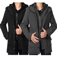 秋冬季男士风衣韩版中长款加厚保暖毛呢大衣修身型假两件外套男潮 8888
