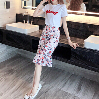 套装女夏2018新款时尚气质两件套名媛淑女韩版小清新洋气套装裙潮 白色 白色+花色