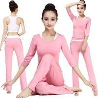 秋冬运动女性瑜伽套装跑步舞蹈上衣裤瑜伽服莫代尔背心三件套长袖