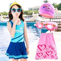 儿童泳衣女孩中大童分体平角连体裙式防晒游泳衣宝宝女童遮肚保守 套装