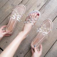 韩版百搭平底透明女士凉鞋 外穿透明时尚花朵珍珠拖鞋女 一字拖时尚气质凉拖