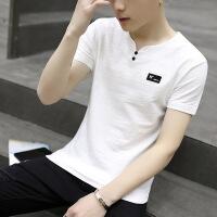 男士短袖t恤男装夏季2018新款V领修身半袖上衣韩版潮流夏装打底衫