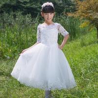 儿童演出服钢琴主持人大童蓬蓬裙 女童生日礼服裙儿童礼服女秋 白 色