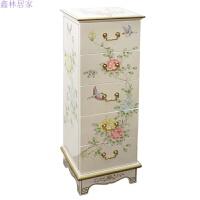 简约现代中式客厅家具装饰柜彩绘柜子 五斗柜卧室小柜美式储物柜 白色 珍珠白花鸟 整装