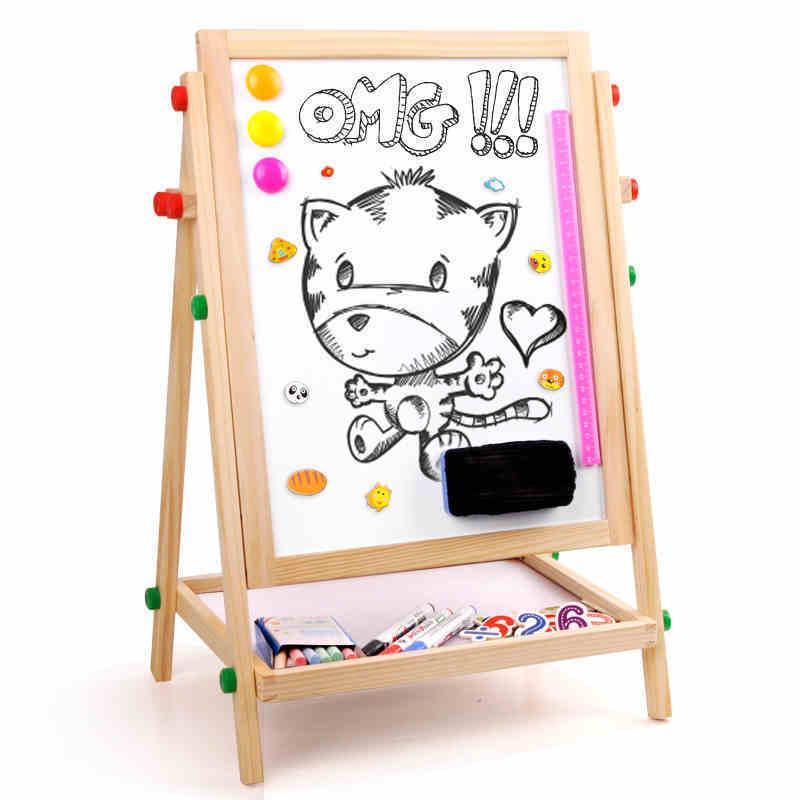 【两件五折】儿童画板画架套装小黑板双面支架式可升降家用宝宝画画磁性写字板益智玩具限时钜惠