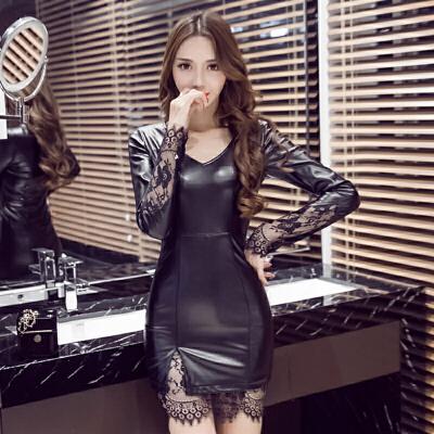 秋裙女新款潮性感时尚PU修身收腰蕾丝包臀皮裙小心机连衣裙 甜美 发货周期:一般在付款后2-90天左右发货,具体发货时间请以与客服协商的时间为准