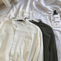 港风春夏新款宽松立领长袖衬衫男士韩版学生纯色百搭衬衣打底衫潮