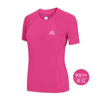 速干T恤女运动短袖夏快干衣透气跑步速干衣排汗透气健身衣 8001玫红 M
