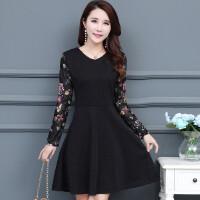 秋季韩版30-40-50岁中年女装长袖蕾丝印花拼接修身中长款连衣裙子
