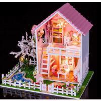 diy小屋 樱花树下手工模型拼装大型别墅玩具房子送创意生日礼物女