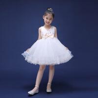 儿童礼服 女童演出晚礼服夏 公主裙蓬蓬裙舞蹈服 白色