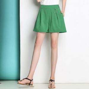春装新款女士大码短裤棉麻休闲裤外穿夏季学生高腰阔腿热裤