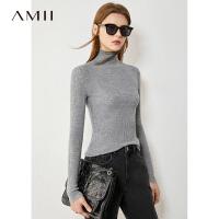 【2折叠券预估价:165元】Amii100%纯羊毛衫套头毛衣秋冬新款高领修身打底衫百搭针织上衣女