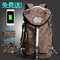 双肩包男潮流背包旅行韩版大容量帆布包学生书包行李袋时尚旅游包