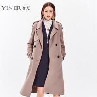 部分预售-音儿 2017冬季新款 时尚OL风中长款羊毛呢大衣女8C57580390