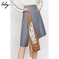 【限时一口价299元】全场叠加100元券 Lily2019秋新款女装设计感不规则拼接撞色丝巾A字条纹半身裙6950