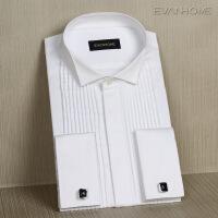 2017春季新款法式袖扣衬衫长袖男士纯棉免烫礼服白衬衣燕子领 EF13101