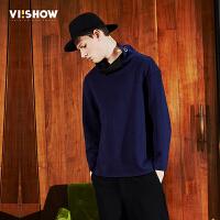 viishow潮牌男装春装新品卫衣套头青年韩版休闲纯色长袖外套