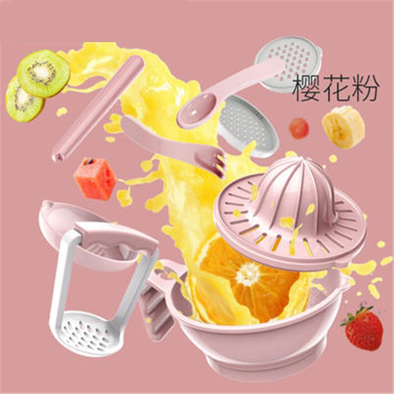 【支持礼品卡】宝宝辅食研磨器 手动食物辅食工具婴儿果泥料理机防摔研磨碗 h9u 默认:樱花粉(十件套)