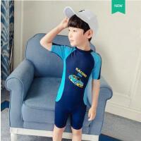 儿童泳衣男童连体中大童长短袖沙滩防晒连体男孩宝宝可爱泳装