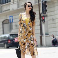 真丝连衣裙圆领宽松气质修身显瘦中长款甜美百搭2017年夏季