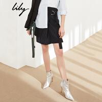 Lily2018春新款女装时髦不对称条纹拼接黑色短裙半裙118119C6901