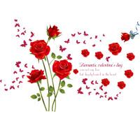 结婚婚房卧室温馨浪漫情侣贴画墙贴 少女床头墙上装饰贴纸玫瑰花 + 大