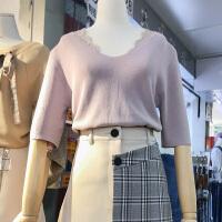 韩国ulzzang2018春装新款修身显瘦V领拼接毛毛针织衫女五分袖上衣