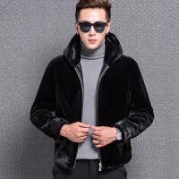 韩版男士羊剪绒皮草外套真皮皮衣修身夹克连帽一体皮毛大衣男 黑色