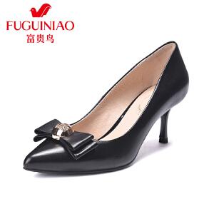 富贵鸟2017春季新款单鞋头层羊皮立体蝴蝶结高跟女鞋