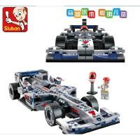 小鲁班 F1蓝光银箭赛车模型启蒙塑料拼插积木玩具B0352